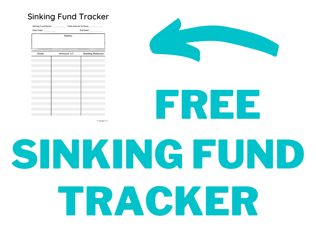 Image that shows an example of a pdf sinking funds tracker.