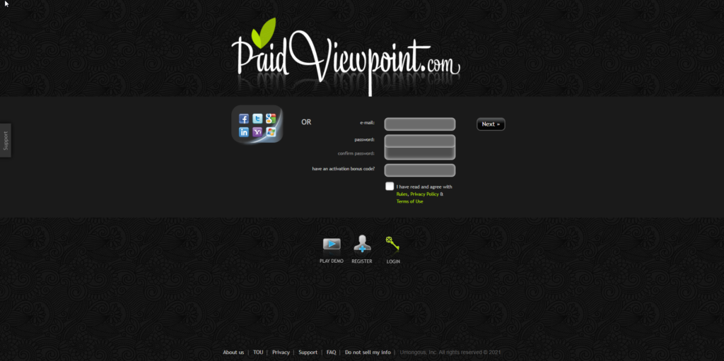 Paidviewpoint sign up form